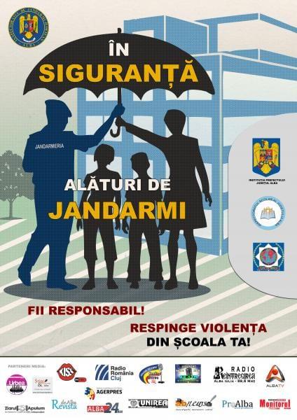 Jandarmeria Alba lansează un nou proiect împotriva violenței în școli. Comunicat.