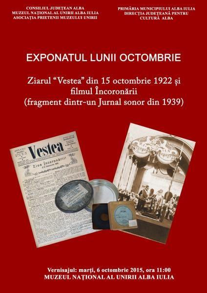 """Exponatul Lunii Octombrie Ziarul """"Vestea"""" din 15 octombrie 1922 și filmul Încoronării"""