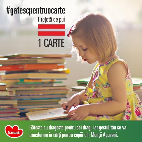 """Compania Transavia lansează campania """"Gătesc pentru o carte"""" și dotează o bibliotecă pentru copiii din Munții Apuseni"""