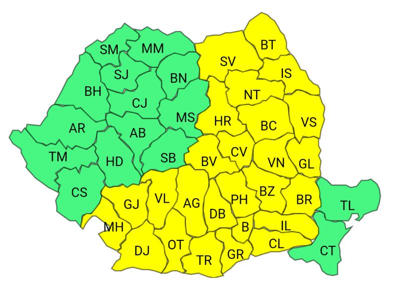 Cod galben de frig in Romania.