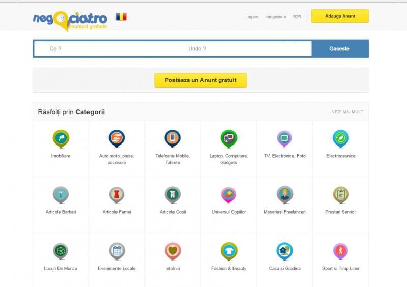 O platformă de anunțuri online foarte comună esteNegociat.ro