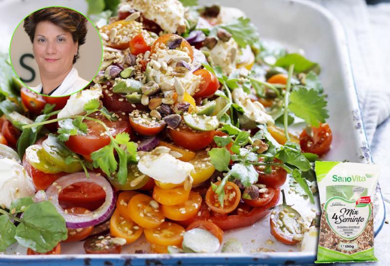 Salată cu mix de semințe și paste integrale cu broccoli