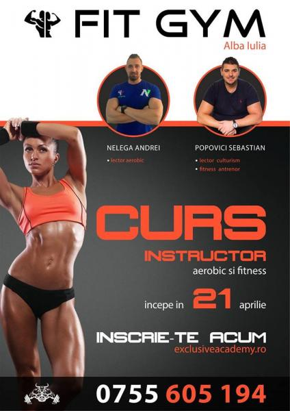 21 aprilie: Curs de Instructor Aerobic–Fitness la Fit Gym Alba Iulia