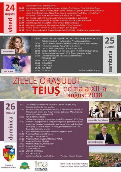 Zilele orașului Teiuș, 24-26 august