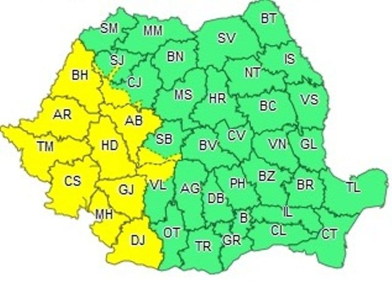 Avertizare de COD GALBEN de ploi în județul Alba