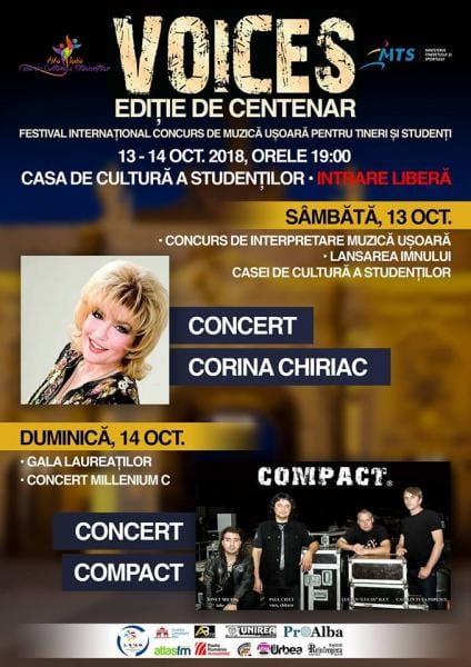 """Festivalul-concurs internaţional de muzică uşoară pentru tineri şi studenţi """"Voices"""" are loc la Alba Iulia între 13 și 14 octombrie"""