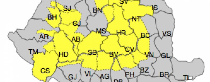 Avertizări COD GALBEN pentru zonele de munte și pentru arii extinse din Banat, Crișana, Maramureș și Transilvania