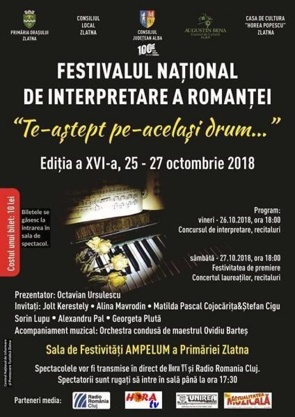 """Festivalul Național de interpretare a romanței, """"Te-aștept pe-același drum…"""", ediția XVI-a, la Zlatna"""