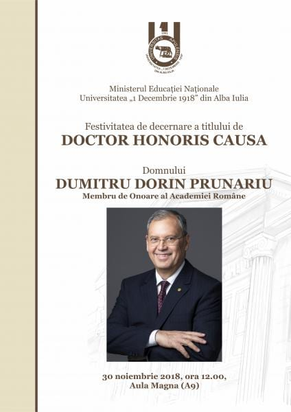 """Cosmonautul Dumitru Prunariu va deveni """"Doctor Honoris Causa"""" al Universitații """"1 Decembrie 1918"""" Alba Iulia"""