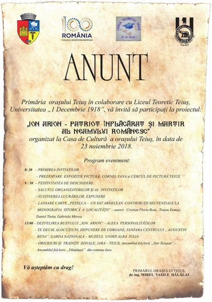 Ion Arion, martirul Marii Uniri, comemorat la Teiuș