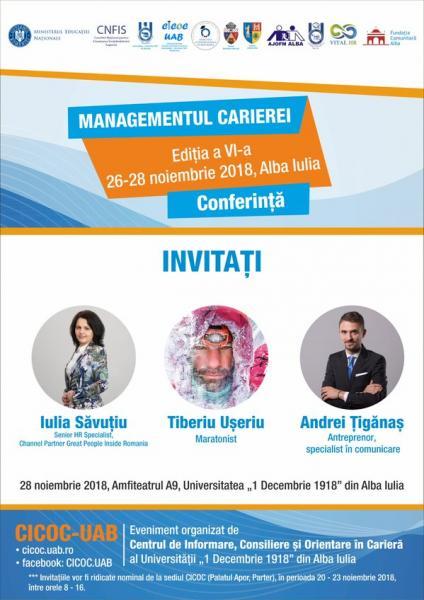 "Alba Iulia – Conferința ""Managementul carierei"", ediția a VI-a"
