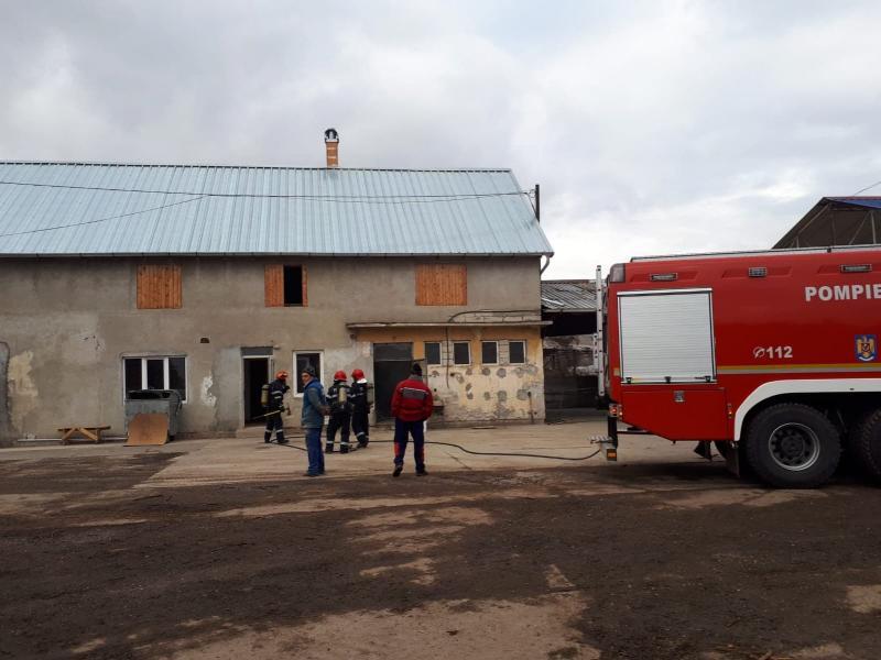 Tavanul unui depozit de rumeguș din Alba Iulia a luat foc (foto)