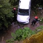 Unirea - Un șofer a ajuns cu mașina în albia unui pârâu