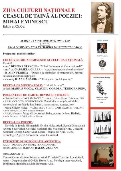 """Aiud – Ziua culturii naționale:""""Ceasul de taină al poeziei: Mihai Eminescu"""", ediția a XXX-a"""