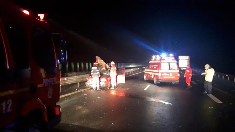 Coliziune mortală între un autoturism și un autotren pe A1, între Sebeș și Orăștie