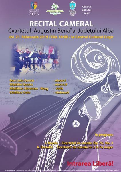 """Cugir – Recital cameral susținut de cvartetul de coarde ,,Augustin Bena"""" al județului Alba"""