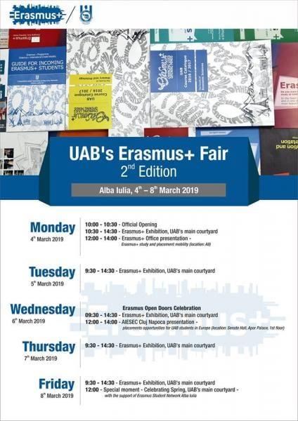 Alba Iulia – UAB găzduiește a doua ediție a târgului Erasmus+ (UAB's Erasmus+ Fair)