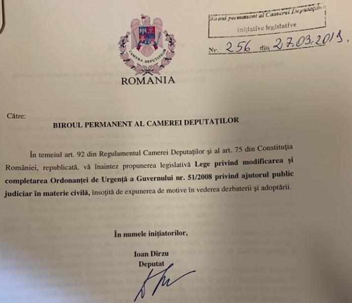 Propunere legislativă a deputatului PSD Ioan Dîrzu prin care se dorește facilitarea accesului la justiție pentru români