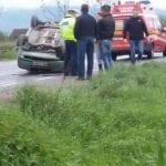 Șibot - Trafic îngreunat pe DN 7 după ce o mașină s-a răsturnat pe carosabil