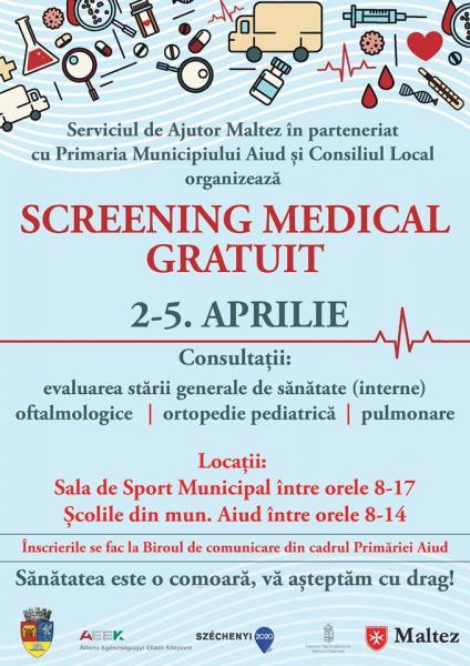 Aiud – Program gratuit de screening medical pentru persoane adulte și copii