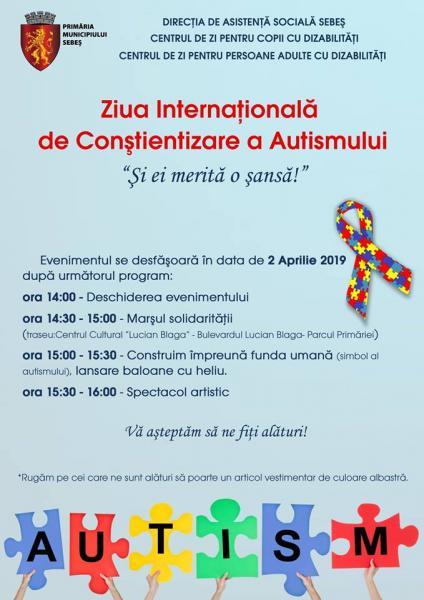 Sebeș – Marș al solidarității și spectacol artistic organizate cu ocazia Zilei Internaționale de Conștientizare a Autismului