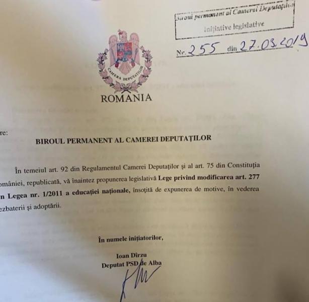 Propunere legislativă a deputatului Ioan Dîrzu în domeniul învățământului