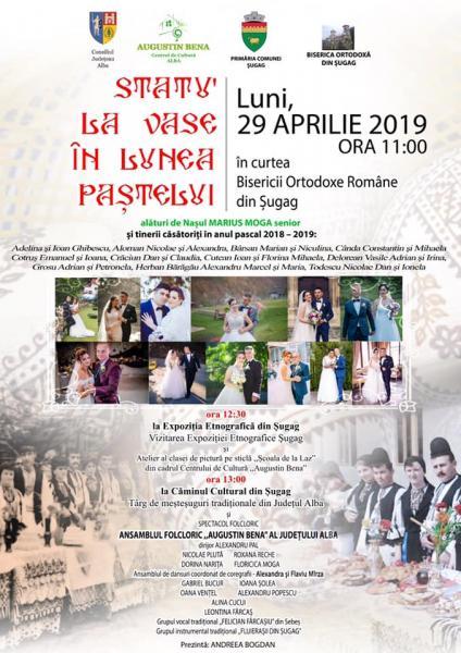 """Șugag – 11 cupluri din comună, cununate între 2018 și 2019 vor participa la ediția din acest an a evenimentului tradițional """"Statu' la vase în lunea Paștelui"""""""