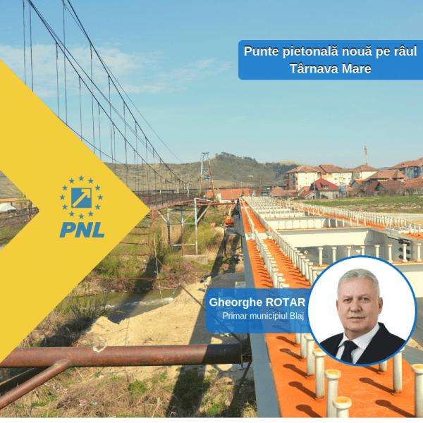 """Gheorghe Valentin Rotar, primarul municipiului Blaj: """"În această vară se va încheia construcţia noii punţi pietonale de pe râul Târnava Mare"""""""