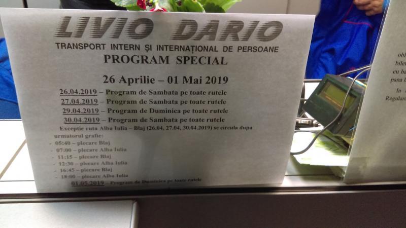 Program special de circulație al autobuzelor Livio Dario în perioada sărbătorilor pascale și a minivacanței de 1 mai