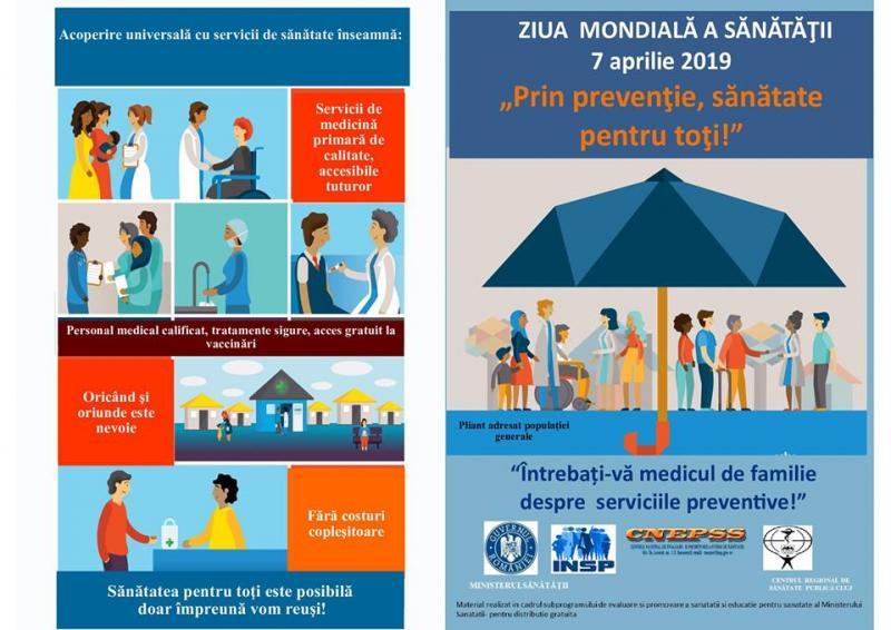 """7 aprilie – Ziua Mondială a Sănătății, desfășurată sub sloganul """"Prin prevenție, sănătate pentru toți!"""""""