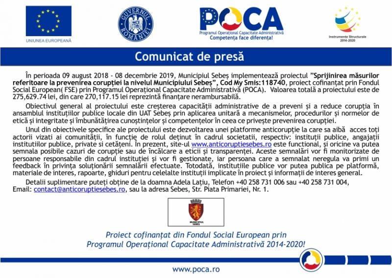 Proiect de sprijinire a măsurilor de prevenire a corupției, implementat de primăria municipiului Sebeș