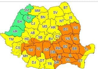 Avertizări COD GALBEN și COD PORTOCALIU emise de ANM pentru mai multe județe ale țării, inclusiv județul Alba