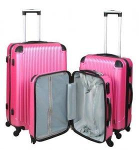 set  valize tip troler impermeabile cu roti fermoar si cifru culoare roz  jd mx