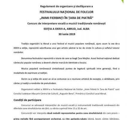 """FESTIVALUL NAŢIONAL DE FOLCLOR """"INIMI FIERBINȚI ÎN ȚARA DE PIATRĂ"""", ediția a XXXVI-a"""