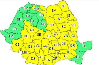 ANM – Județul Alba a primit o nouă atenționare meteorologică COD GALBEN de vreme rea