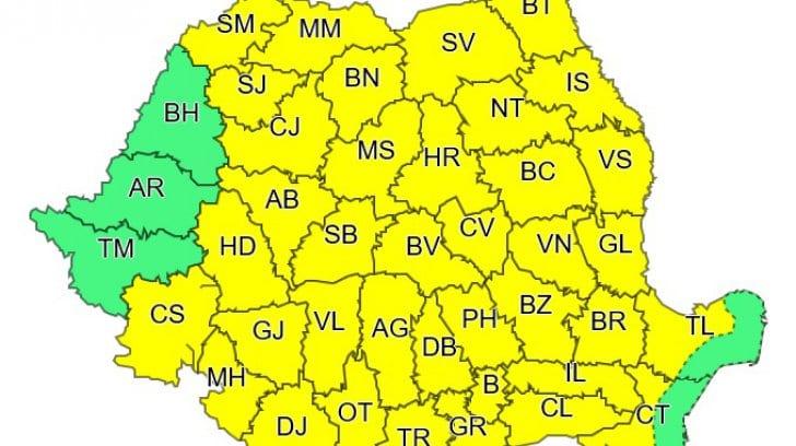 ANM – Atenționare COD GALBEN de vreme rea pentru aproape toate județele din România