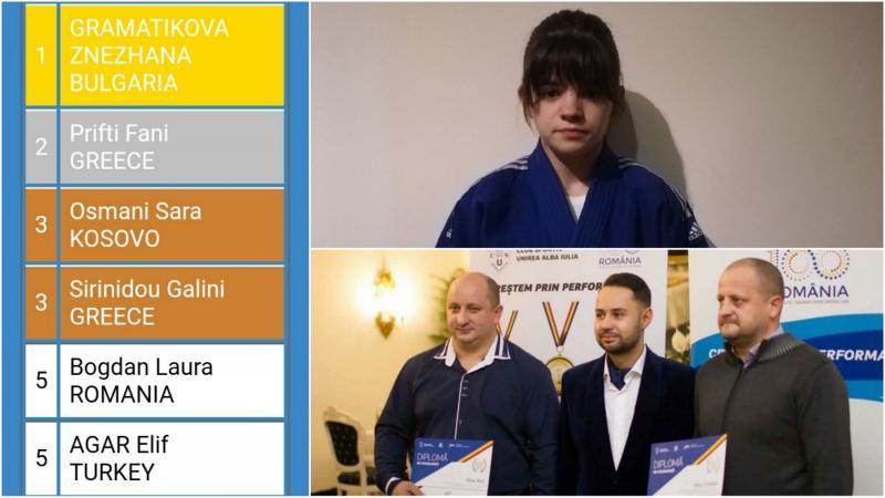 Sportivă legitimată la CS Unirea Alba Iulia, locul 5 la Campionatul Balcanic de Judo – copii U 15