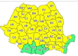 Atenționare meteorologică COD GALBEN emisă de ANM pentru Alba și majoritatea județelor țării