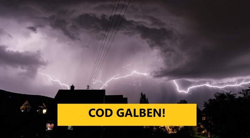 ANM – Avertizare Cod Galben de ploi, grindină, vijelii și descărcări electrice pentru aproape toate județele țării
