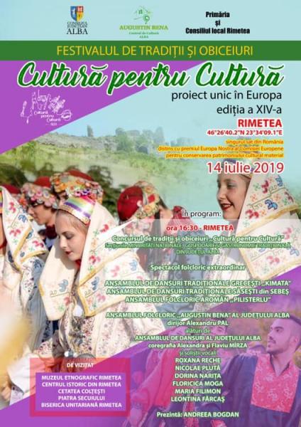 """Festivalul – concurs de tradiții și obiceiuri """"Cultură pentru Cultură"""" – etapa minorități naționale, duminică, 14 iulie la Rimetea"""