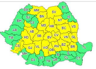 ANM – Atenționare meteorologică COD GALBEN de instabilitate atmosferică pentru județul Alba