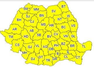 ANM – Avertizare meteo COD GALBEN de vreme instabilă pentru toate județele României!