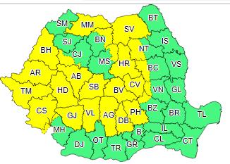 ANM a emis o avertizare Cod Galben de instabilitate atmosferică accentuată pentru mai multe județe ale României