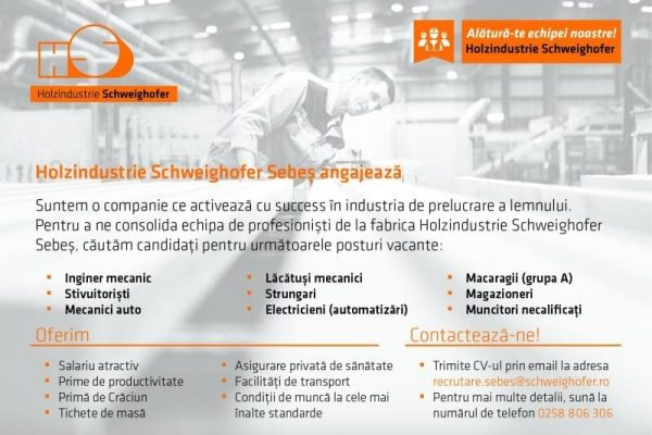 Locuri de muncă vacante la fabrica de cherestea Holzindustrie Schweighofer Sebeș
