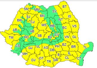 ANM – Atenționare Cod Galben de temperaturi ridicate pentru zone întinse din teritoriul României