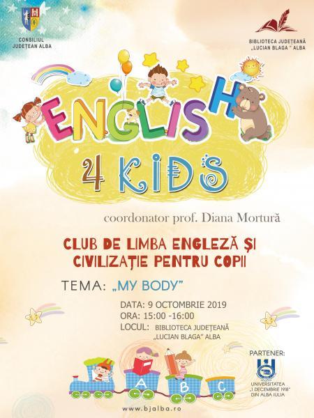 """Biblioteca Județeană """"Lucian Blaga"""" Alba organizează o nouă ediție a proiectului """"English 4 Kids"""""""