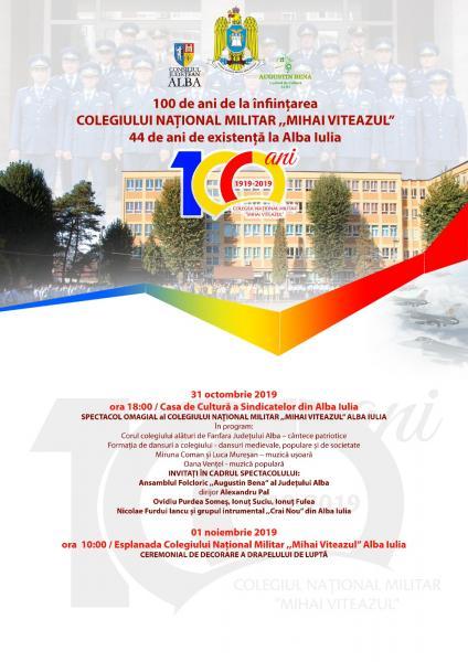 """Spectacol omagial cu ocazia Centenarului Colegiului Naţional Militar """"Mihai Viteazul"""""""