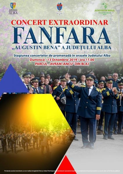 """Concert extraordinar de fanfară, în parcul """"Avram Iancu"""" din Blaj"""