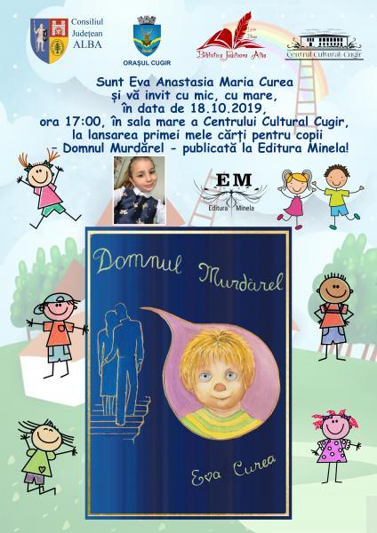 Micuța scriitoare Eva Anastasia Maria Curea din Cugir își lansează prima carte pentru copii