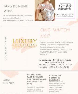 Între 17 și 20 octombrie, Târgul de nunți ''Nunta mea'' Alba